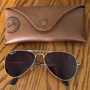 Womens Gold Rayban Aviator Sunglasses
